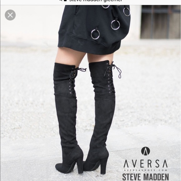 d67f3f26b56de Steve Madden Shoes | Over The Knee Lace Up Boots | Poshmark